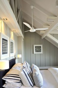 Beachy ceiling fans interior designs with bedroom ceiling fans beach house bedroom cape cod decor house . Beach House Bedroom, Beach House Decor, Home Bedroom, Home Decor, Bedroom Interiors, Bedroom Fan, Style At Home, Coastal Bedrooms, Coastal Living