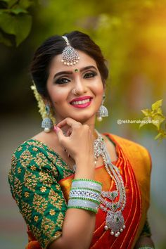 Beautiful Saree, Beautiful Indian Actress, Indian Wedding Photography Poses, Indian Bridal Sarees, Bride Poses, Saree Photoshoot, Bride Portrait, Glamorous Makeup, Saree Wedding