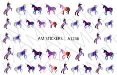 40 Galaxy Unicorn Nail Decals by AMnails on Etsy