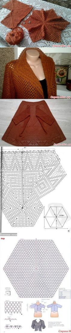 Cardigan from hexagons // Yuri Gunar - Before After DIY Crochet Baby Mittens, Crochet Coat, Crochet Jacket, Crochet Cardigan, Crochet Scarves, Crochet Skirts, Crochet Clothes, Beaded Crafts, Irish Crochet