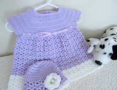 Baby Girl Crochet Dress and Hat Gift Set Newborn/ by TheComfyBaby