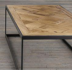 Reclaimed Oak Parquet Coffee Table, x x Restoration Hardware. Reclaimed Oak Flooring, Wood Parquet, Reclaimed Wood Coffee Table, Oak Coffee Table, Oak Table, Tile Wood, Salvaged Wood, Dining Table, Vintage Industrial Furniture