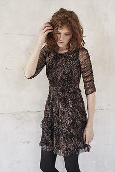 Collection vêtements femme IKKS, robe en voile imprimé
