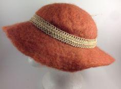 @@@ Womens WOOL Sun Bucket Hat Orange Thick With Rope Headband Burnt @@@ #Sunhat