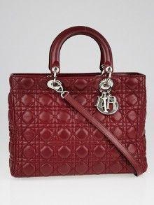 abeb4b9b2513d 迪奥暗红色几何图案绗缝大的Lady Dior手袋 Dior Handbags