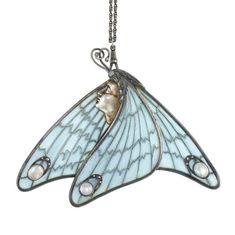 Art Nouveau Silver, Silver-Gilt, Plique-a-Jour Enamel, Moonstone and Opal Pendant / c. 1890 by susanne