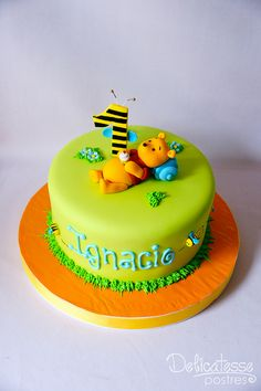 Pooh Baby, Winnie The Pooh Cake, Winnie The Pooh Birthday, Boys 1st Birthday Cake, Pink Birthday Cakes, Character Cakes, Disney Cakes, Novelty Cakes, Occasion Cakes