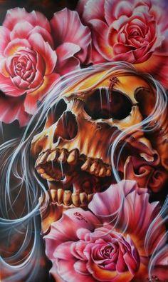 by Derek Turcotte. GREAT painter, check out his stuff. Skull Artwork, Skull Painting, Wallpaper Caveira, Tattoo Caveira, Skull Rose Tattoos, Totenkopf Tattoos, Skull Pictures, Skull Wallpaper, Sugar Skull Art