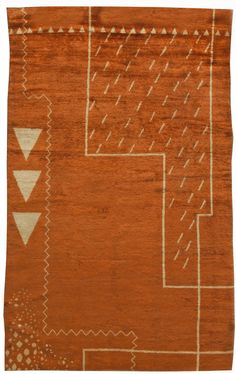 This circa-1940 vintage French Deco rug features a bold all-over design in…