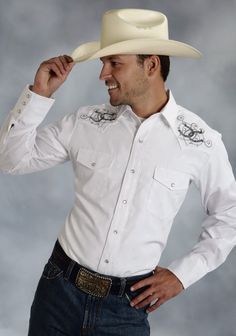 Roper® Mens White Embroidered Long Sleeve Pearl Snap Cowboy Shirt