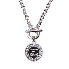 I'd Rather Be Bowling Circle Charm Toggle Necklace