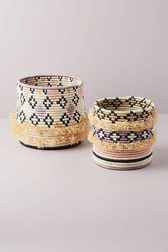 Rose Desert Fringe Basket by All Across Africa in Pink Size: S, Storage at Anthropologie Decorative Storage, Decorative Bowls, Belly Basket, Garden Lamps, Presents For Mom, Decoration, Rose, Anthropologie, Deserts