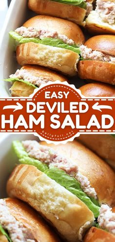 Deviled Ham Salad is the BEST! This easy appetizer recipe or snack idea makes a spread for a decent-sized crowd on game day. Served on crackers, this football food is so delicious. Save this pin! Deviled Ham Salad Recipe, Ham Salad Recipes, Best Egg Salad Recipe, Snacks Recipes, Sandwich Recipes, Easy Delicious Recipes, Easy Appetizer Recipes, Appetizer Ideas, Dressings