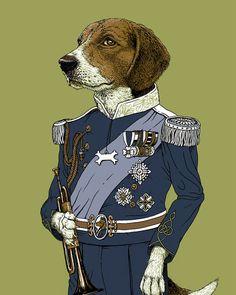Regal Beagle Print 8x10 Animal in Suit by ScatterbrainPrints, $15.00 Owen room