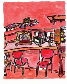 """Backstage Dressing Room by Bob Dylan, the """"Drawn Blank"""" art series by Bob Dylan"""