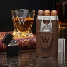Engraved Whiskey and Cigar Gift Set with Twist Glass - Personalized Cigar Holder, Etched Rocks Glass, Whiskey Lover Gift, Cigar Aficionados Good Cigars, Cigars And Whiskey, Cuban Cigars, Red Wine Glasses, Whiskey Glasses, Peaky Blinders, Gangsters, Cigar Gifts, Cigar Cases