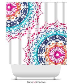 Kess InHouse Famenxt Rainbow Drops Multicolor Argyle Shower Curtain 69 by 70