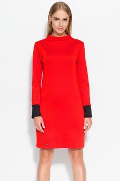 Sukienka Makadamia M329 - czerwony Stylowa sukienka damska: ...  https://www.mega-ciuchy.pl/sukienka_makadamia_m329_czerwony