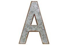 "UTC34900 Metal Alphabet Wall Decor Letter ""A"" Rusted Edge Effect Galvanized Finish Zinc http://www.utgallery.com/product-p/34900.htm #HomeDecor #decor #InteriorDesign"