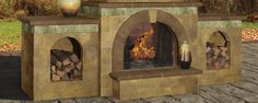 Your day doesn't have to end when the sun goes down. Add a fireplace by Cambridge Pavingstones with Armortec. This fireplace features a fire wood box extension on either side.