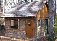 This beautiful cordwood garden shed was made almost entirely from recycled, bartered and generally not purchased materials. I would love to have a cabin like this out in the woods somewhere.