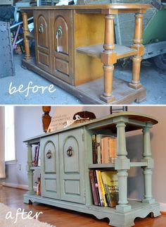 DIY furniture paint refurbish tutorial.  This is the type of thing I'm visualizing to hold board games/books in the living room.