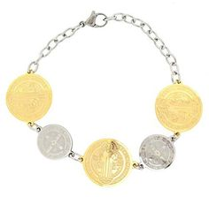 Edforce Stainless Steel Religious Charm Collection Saint Benedict Link Bracelet - Multi Charm