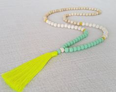 Neon yellow and wood bead tassel necklace - sea mist resin beads and blonde wood bead  tassel necklace with neon yellow  tassel