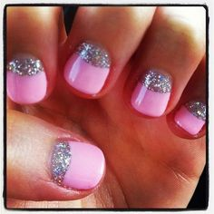 Pink and silver moon nails. Hmm, might do this next.