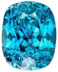 Fine Gem Blue Zircon Loose Gemstone, Cushion Cut, 12.7 x 10 mm, 9.29 Carats at BitCoin Gems