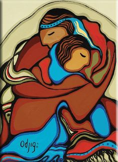 """Design by Potawatomi Artist - Daphne Odjig. """"The joy a couple shares the moment that they realize that they will spend the rest of their lives together."""" - Daphne Odjig (Wholesale: Magnets are sold in multiples of Native American Prayers, Native American Art, Daphne Odjig, Woodlands School, Claudia Tremblay, Woodland Art, Native Art, Native Indian, Aboriginal Artists"""