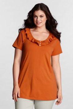 Women's Plus Size Short Sleeve Lightweight Cotton Modal Ruffle Henley Tunic from Lands' End