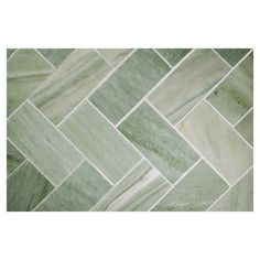 Herringbone mosaic tile using Canopy Green honed marble. A timeless pattern which creates a zig-zag visual, livening any space it is used in. Herringbone Tile Pattern, Herringbone Backsplash, Bathroom Images, Bathroom Design Small, Stone Mosaic, Mosaic Tiles, Exterior Tiles, White Marble Bathrooms, Wood Molding