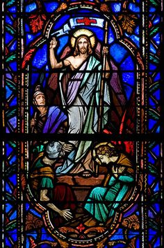 Jesus Resurrected - Stained Glass Window from St. Joseph's Chapel at Kenrick-Glennon Seminary.