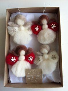 Christmas Angels: Set of 4 'the littlest angel on by MerinoAngel
