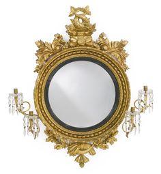 A Regency giltwood convex girandole mirror circa 1815 | Sotheby's