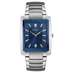 Bulova Men& Classic Silver Stainless-Steel Quartz Watch from brand. Bulova Mens Watches, Army Watches, Cool Watches, Wrist Watches, Male Watches, Stainless Steel Watch, Stainless Steel Bracelet, Finger, Luxury Watches For Men