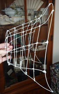 How to make a wire frame bonnet... I would use a more authentic pattern (such as Timely Tresses or use a premade form from them or Pam Robles, etc.) than the one used in the blog.