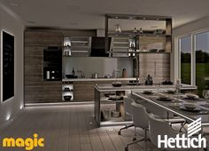 Hosting with light. Customise your kitchen and dining areas with LED lighting by Magic Lighting available from Hettich. Click on the pin to go to our website for more inspiration & information.  #kitchenlighting #lightingdesign