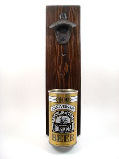 Wall Mounted Bottle Opener Featuring A Vintage Texas Shiner Beer Chilympiad Can Cap Catcher - Father's Day, Groomsman, Or Guy Gift by TexasTieDyeGuy on Etsy