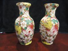 Antique Signed Pr Oriental Mirrowed Floral Vases,Mulit-Color,Porcelain Post-1940