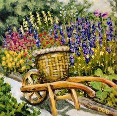 "Daily Paintworks - ""Vintage Wheelbarrow at Williamsburg Nursery"" - Original Fine Art for Sale - © Debbie Yacenda"