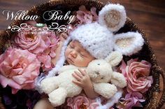 Baby Bunny Hat - Baby Boy Hat - Baby Girl Hat -  Soft and Fluffy with Tan, Pink or Blue Ears