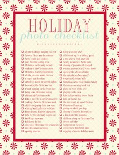 Holiday Photo Checklist