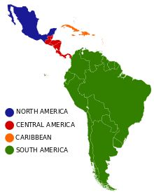 The 4 common subregions in Latin America. Latin America can be subdivided into several subregions based on geography, politics, demographics and culture. If defined as all of the Americas south of the United States, the basic geographical subregions are North America, Central America, the Caribbean and South America.