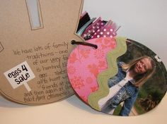 Easter Eggs Mini-Album - Two Peas in a Bucket love how the photo is cut to shape of album and outlining of chipboard.