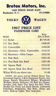 '67 Volkswagen Beetle — Price List   1967 VW Beetle1967 VW Beetle