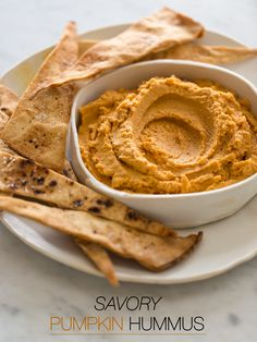 Savory Pumpkin Hummus recipe | Spoon Fork Bacon. I had something like this at a swanky dinner once, and I could never forget it.