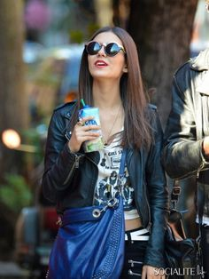 NEW YORK, NEW YORK - Friday October 18, 2013. Victoria Justice films a scene of 'Naomi and Ely's No Kiss List' in the West Village, NYC.