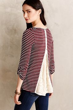 Cassia Scoopneck #anthropologie - Love the navy/cream combo. The open back with the swiss dot fabric is adorable